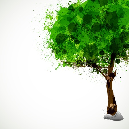 Season tree with green leaves, easy all editable Vector