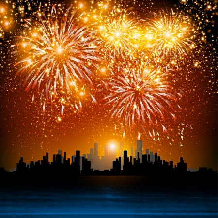 Happy New Year fireworks, night town  easy all editable