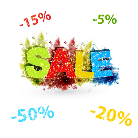 pricetag: Sale poster with percent discount, easy all editable
