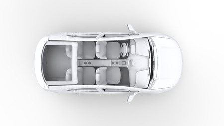 3d rendering car, top view photo