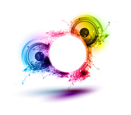 woofer: Abstract musical speakers background, easy all editable Illustration