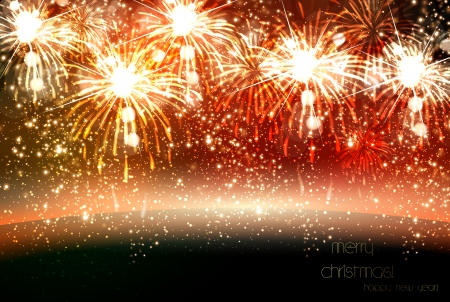Happy New Year and christmas vector celebration fireworks background, easy all editable