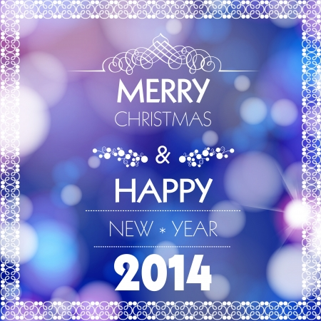 Merry Christmas and Happy New Year card design, easy all editable Vector