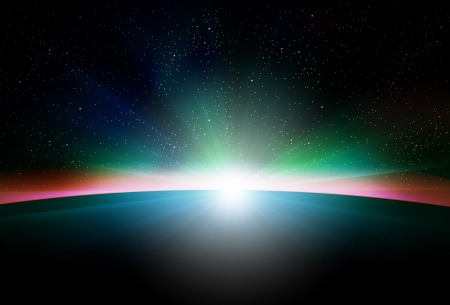 Planet earth with sunrise in space Illustration