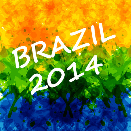 brazilian flag: Water Color background with Brazilian flag colors, easy all editable