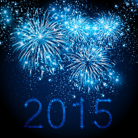 Happy New Year 2015 fireworks background, easy editable Illustration