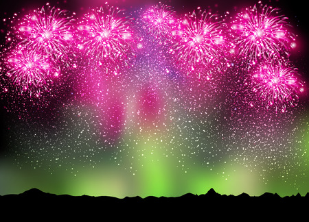 australis: Happy New Year 2015 fireworks on sky and borealis background, easy editable