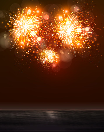 Happy New Year 2015 sky and sea fireworks concept, easy editable Vector