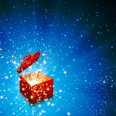 magic box: Open gift box Christmas vector background, easy editable Illustration
