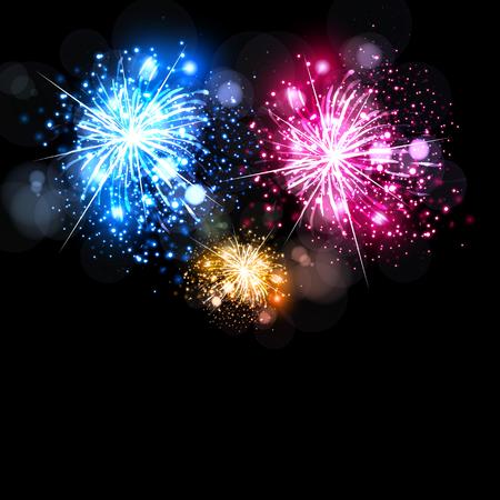 fireworks: Celebraci�n con fuegos artificiales f�cil todo editables