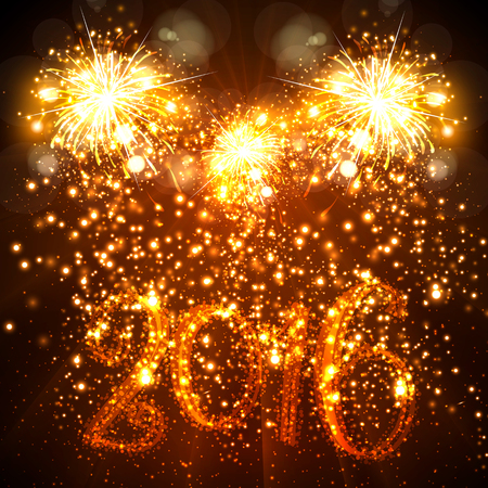 fire works: New Year 2016 easy all editable