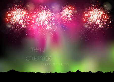 new year greetings: Happy New Year 2016 sky background easy all editable Illustration