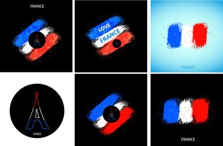 France national flag easy all editable