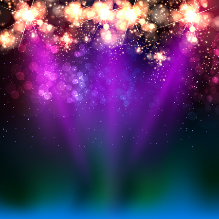 Neon color light stage background Illustration