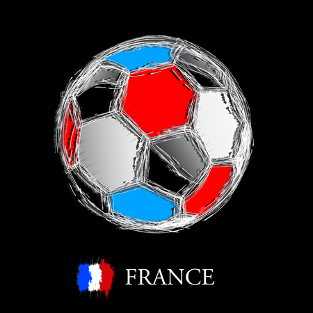 french flag: French flag with soccer ball