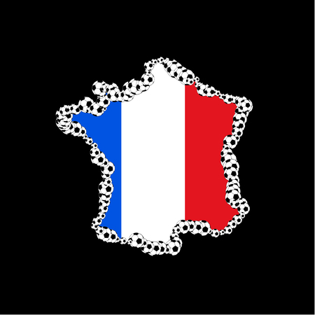 french flag: French flag with soccer ball cover Illustration