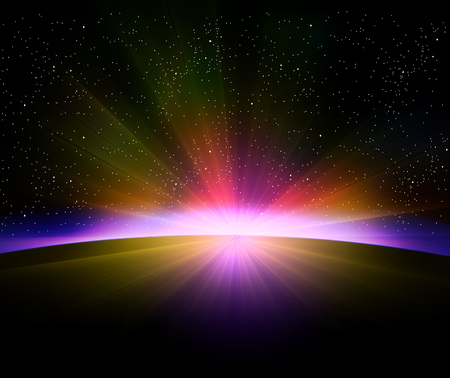 Earth sunrise with rays and lens flare