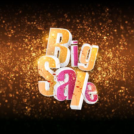 Big sale word on black background