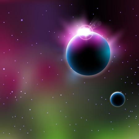Astronomy planet sunrise easy all editable Illustration