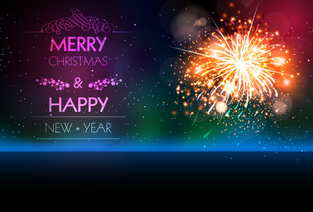 happy new year banner: Happy New Year 2017 celebration fireworks brochure