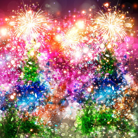 Fireworks new year background easy all editable