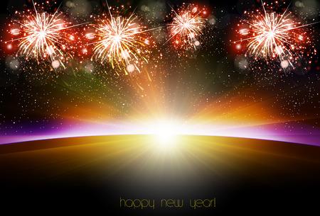 Happy New Year sunrise easy all editable Illustration