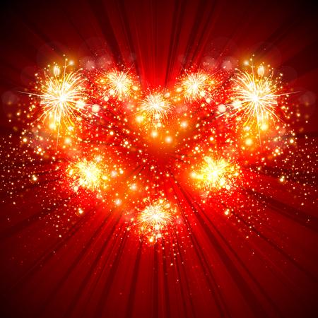 Love, Happy New Year greeting card Illustration
