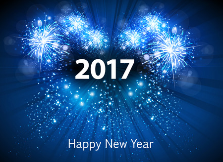 Happy New Year 2017 greeting card easy all editable
