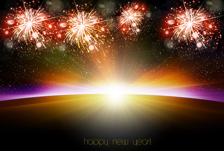 Happy New Year sunrise easy all editable Vector illustration. Illustration