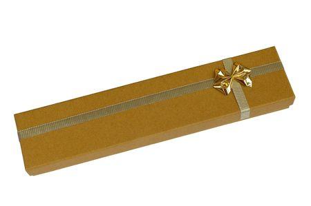 Golden gift box Archivio Fotografico