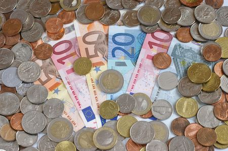 Coins and banknotes - euro Stock Photo