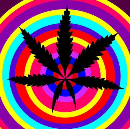 Marijuana leaf on colourful background Illustration
