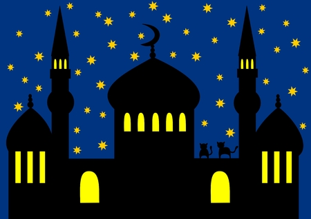 Arabian night - mosque Illustration