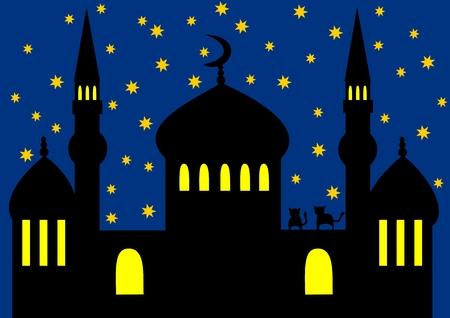 Arabian night - mosque Illustration