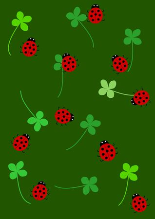 Quarterfoil and ladybird background - illustration