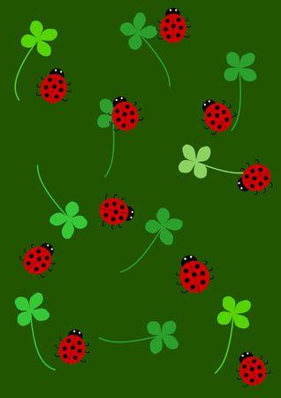 Quarterfoil and ladybird background - illustration Stock Illustration - 6469431