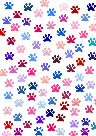 Colourful footprints of a cat Stock Photo