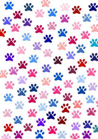 Impronte colorate di un gatto Archivio Fotografico - 6469492