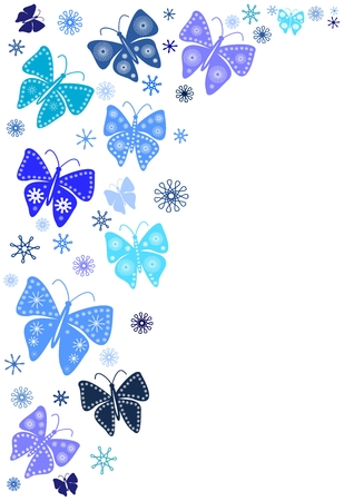 Winter decoration with snowflakes and blue butterflies