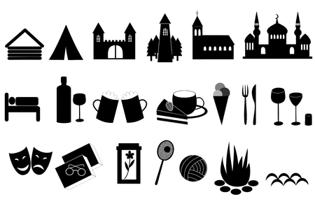 Touristic icons - landmarks, accommodation, culture, entertainment and sport Illustration