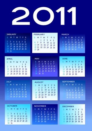 2011 calendar in blue and white Vettoriali