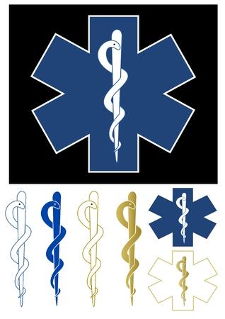 aesculapius: Medical simbolo - Star of Life Vettoriali