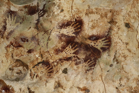 peinture rupestre: Les peintures rupestres - empreintes de main, Bornéo