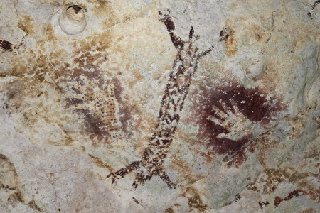 Cave paintings - prehistorical art, Borneo Stock Photo