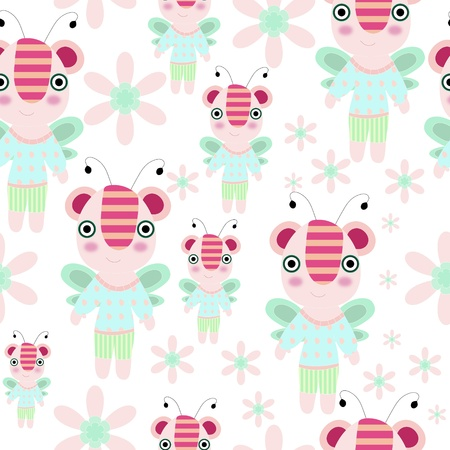 Seamless cartoon teddy - bee with flowers and trees illustration repeat background pattern Vector