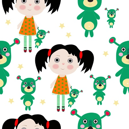 Seamless sweet small girl with toy and stars illustration background pattern Vector