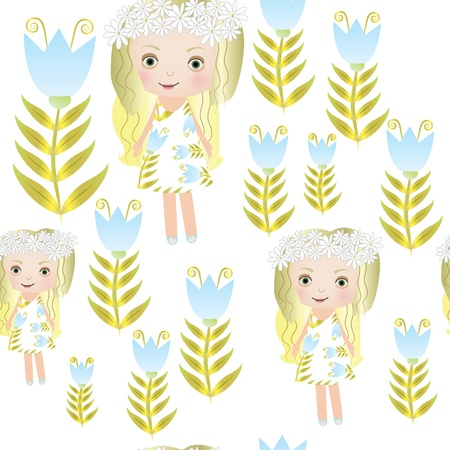 Seamless sweet small fairy girl illustration background pattern Vector