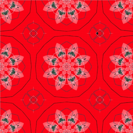 Seamless retro kaleidoscope flowers  background  Vector