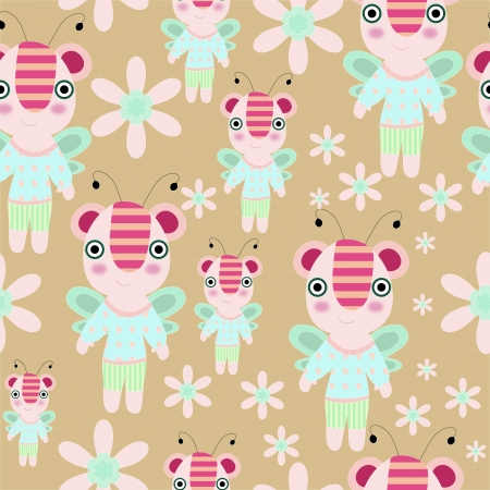 Seamless vector cartoon teddy - bee with flowers and trees illustration repeat background pattern Vector