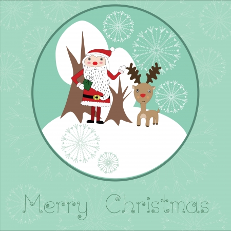 Cute Christmas card with Santaclaus, reindeer, snowflakes and white trees Stock Vector - 16587098